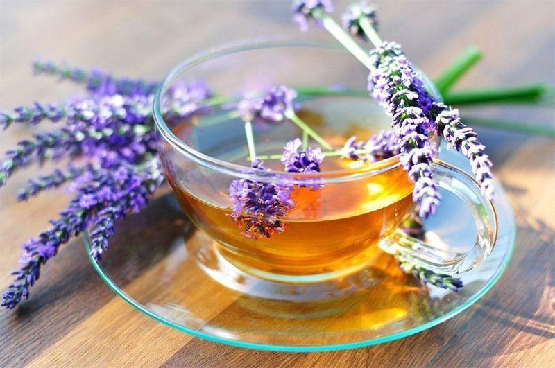 tasse de thé avec lavande