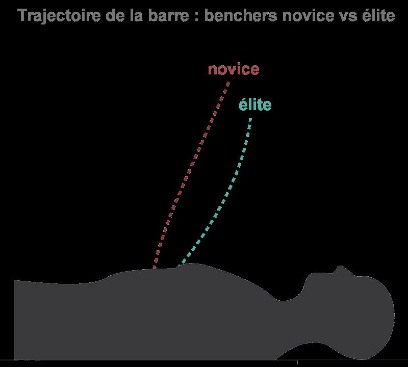 trajectoire barre développé couché débutant vs élite