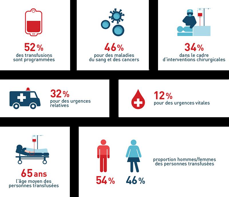 Infographie comment sont utilisés les dons du sang